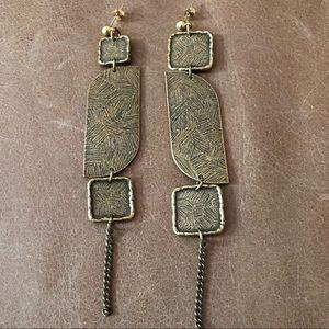 Asymmetrical brass geometric duster earrings